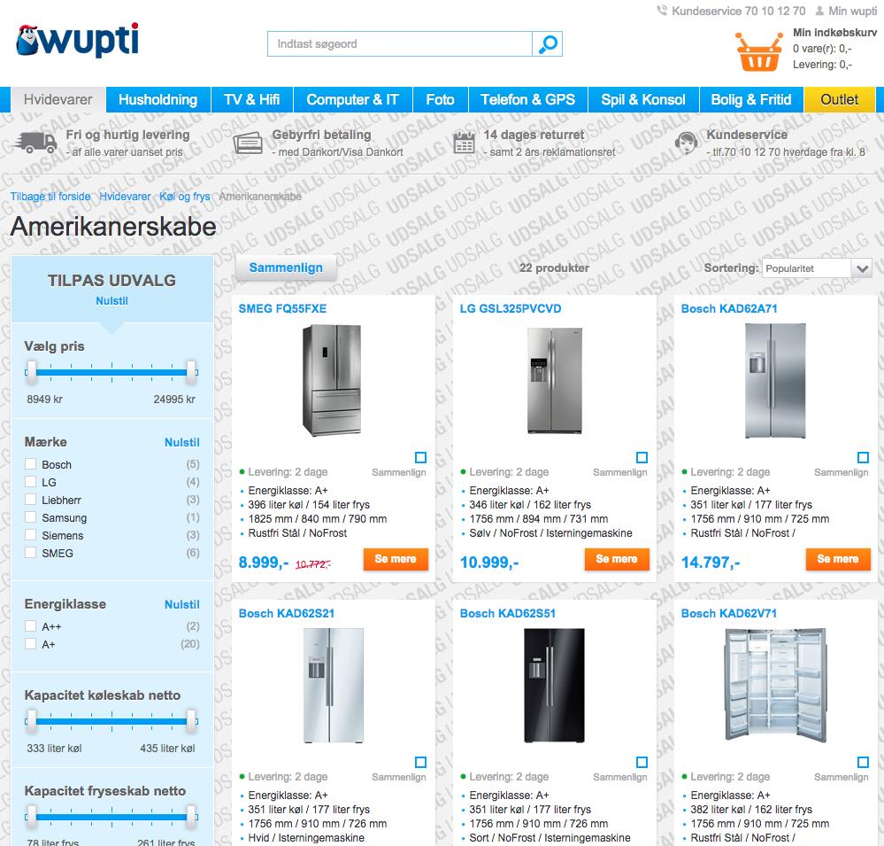 amerikaner køleskabe hos Wupti.com