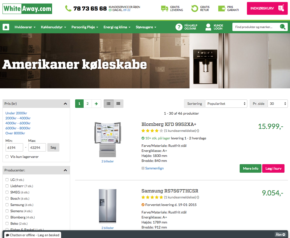 amerikaner køleskabe hos whiteaway.com
